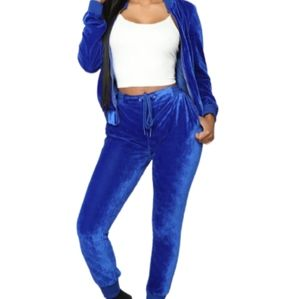 NEW LOOK Royal Blue Velour Track Suit NWOT